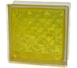 Стеклоблок  Алмаз желтый