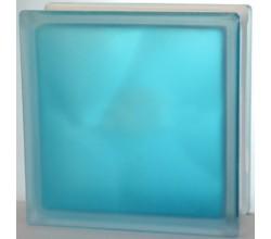 Стеклоблок голубой Волна полуматовый