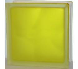 Стеклоблок желтый Волна полуматовый