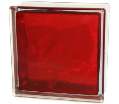 Стеклоблок красный  Волна