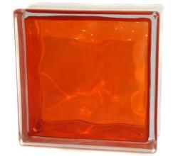 Стеклоблок оранжевый Волна