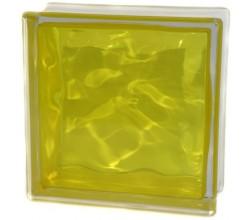 Стеклоблок желтый Волна