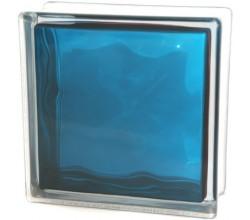 Стеклоблок синий Волна