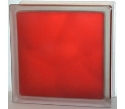 Стеклоблок красный Волна матовый с одной стороны