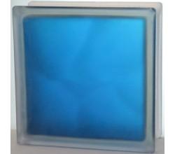 Стеклоблок синий Волна полуматовый