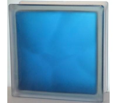 Стеклоблок синий Волна матовый с одной стороны