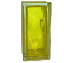 Стеклоблок половинка волна желтый