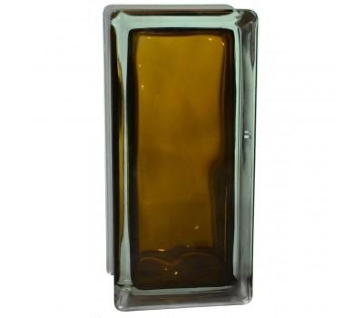 Стеклоблок половинка волна бронзовый