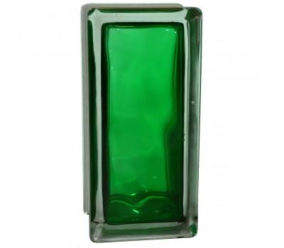 Стеклоблок половинка волна зеленый