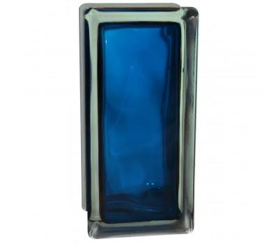 Стеклоблок половинка волна синий