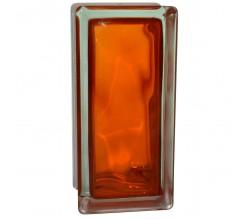 Стеклоблок половинка волна оранжевый