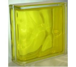 Стеклоблок торцевой волна желтый