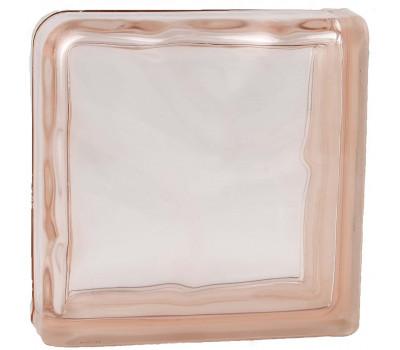 Стеклоблок завершающий волна окрашенный в массе розовый