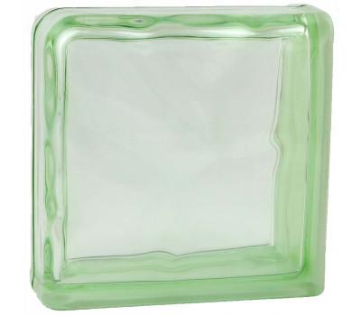 Стеклоблок завершающий волна окрашенный в массе зеленый