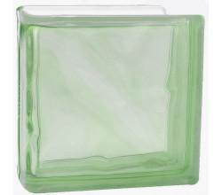 Стеклоблок торцевой волна окрашенный в массе зеленый