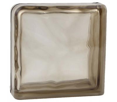 Стеклоблок завершающий волна окрашенный в массе коричневый