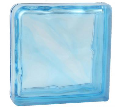 Стеклоблок завершающий волна окрашенный в массе голубой