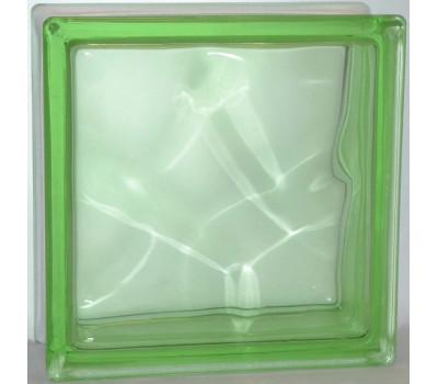 Стеклоблок Зеленый в массе волна