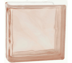 Стеклоблок торцевой волна окрашенный в массе розовый