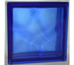 Стеклоблок Синий в массе волна